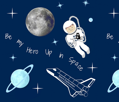 Up in Space / Hero fabric by paragonstudios on Spoonflower - custom fabric