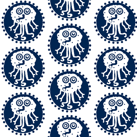 Squidike / blue fabric by paragonstudios on Spoonflower - custom fabric