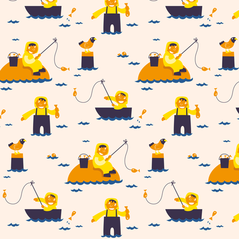 Fisherman fabric by verycherry on Spoonflower - custom fabric