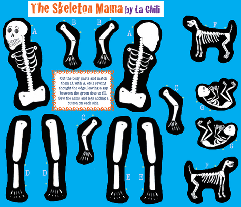The Skeleton Mama fabric by nahuatlv on Spoonflower - custom fabric