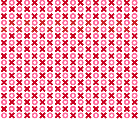 Tiny Noughts and Crosses in red and pink on white fabric by little_fish on Spoonflower - custom fabric