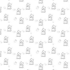 Westie with Pawprints