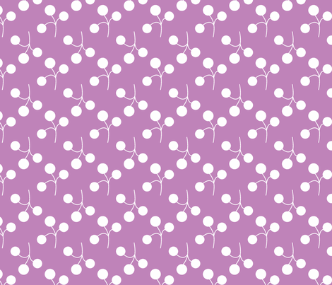 white berries on lilac fabric by christiem on Spoonflower - custom fabric
