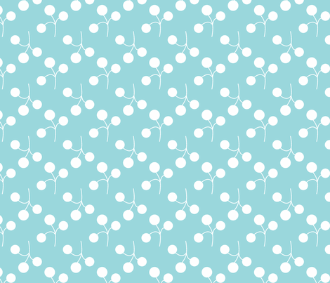 white berries on turquoise fabric by christiem on Spoonflower - custom fabric