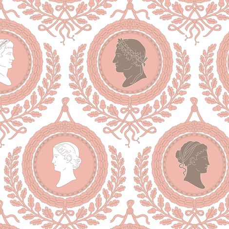 Neo Classical Cameos1b fabric by muhlenkott on Spoonflower - custom fabric