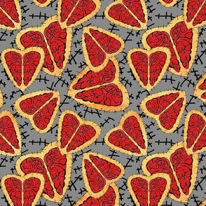 I Heart Brains-Zombie Annabelle dress fabric