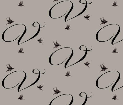 V is for Vivienne fabric by keweenawchris on Spoonflower - custom fabric