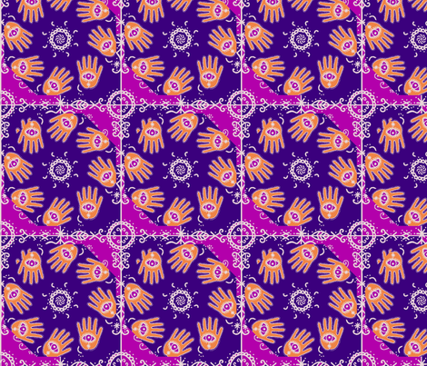 MARDI_GRAS_hands_1_plum fabric by lfntextiles on Spoonflower - custom fabric