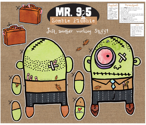 Mr. 9to5 Zombie Plush Toy by Patty Rybolt Designs! fabric by pattyryboltdesigns on Spoonflower - custom fabric