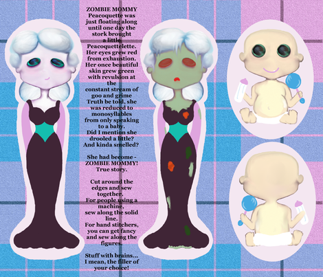 Peacoquette Is A Zombie Mommy! fabric by peacoquettedesigns on Spoonflower - custom fabric