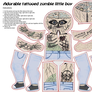 Adorable tattooed zombie little boy