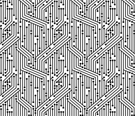 Printed Circuit Board (B&W) fabric by leighr on Spoonflower - custom fabric