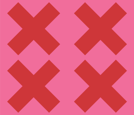 Extra Large Red Crosses on Pink fabric by little_fish on Spoonflower - custom fabric