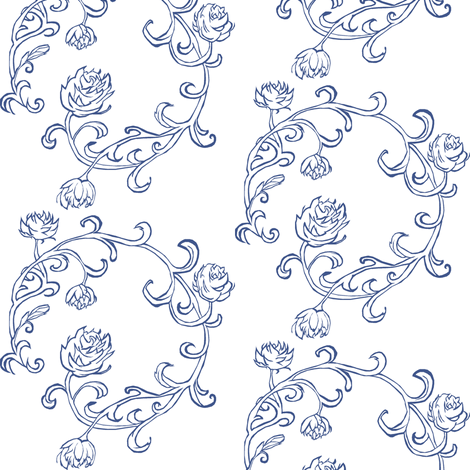 Ring of Roses: China Blue fabric by pond_ripple on Spoonflower - custom fabric