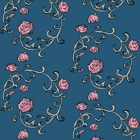 Ring of Roses: Pink on Blue fabric by pond_ripple on Spoonflower - custom fabric