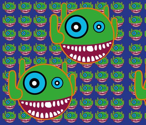 Happy_Green_Monsters fabric by clara_eloisa on Spoonflower - custom fabric