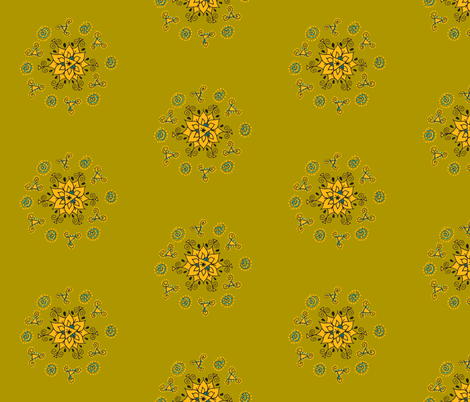 olive orange flower with swirls fabric by dnbmama on Spoonflower - custom fabric