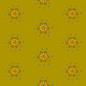 olive orange flower with swirls
