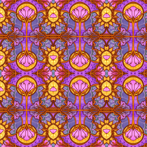 Old Fashioned Art Nouveau Floral Stained Glass Window fabric by edsel2084 on Spoonflower - custom fabric