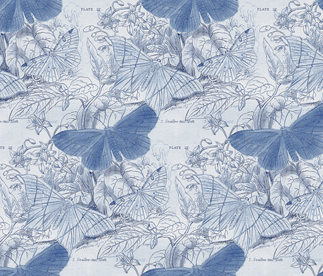 Moth Ridden Botanical ~ Blue & White fabric by peacoquettedesigns on Spoonflower - custom fabric