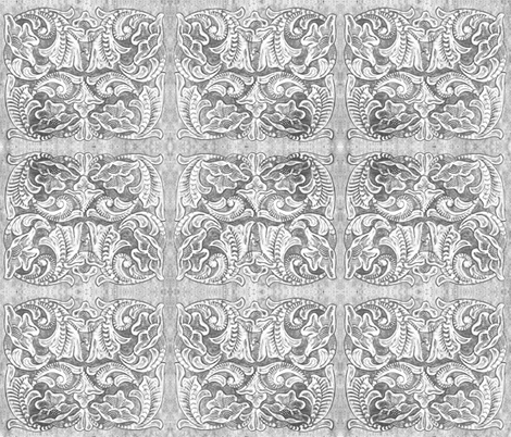 Tooled Leather WHITE and BLACK fabric by ravenwoodstudiodesigns on Spoonflower - custom fabric
