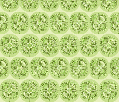 pointy flower shades of green fabric by dnbmama on Spoonflower - custom fabric