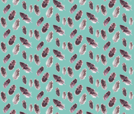 Feathers dotty on light teal