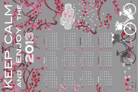 "Calendar 2013 for linen-canvas option 18 X 27"" fabric by katarina on Spoonflower - custom fabric"