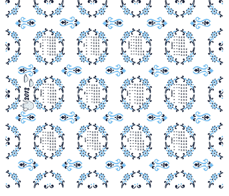 2013 Delft Floral Tea for Two Calendar fabric by kdl on Spoonflower - custom fabric