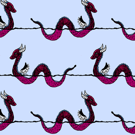 Sea Serpents Color Request fabric by pond_ripple on Spoonflower - custom fabric