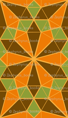 Colorful Tessellated Floral Wheel - Brown, Orange, Green, Yellow