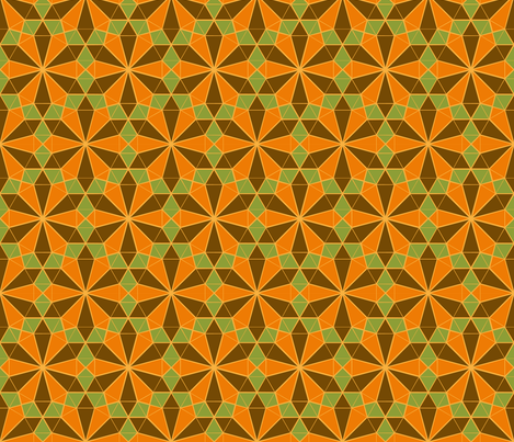 Colorful Tessellated Floral Wheel - Brown, Orange, Green, Yellow fabric by zephyrus_books on Spoonflower - custom fabric