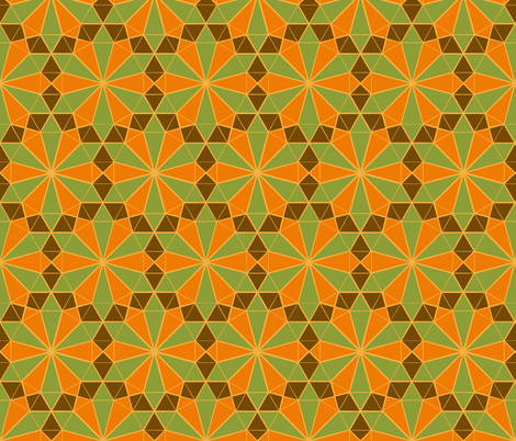 Colorful Tessellated Floral Wheel - Green, Orange, Brown, Yellow fabric by zephyrus_books on Spoonflower - custom fabric