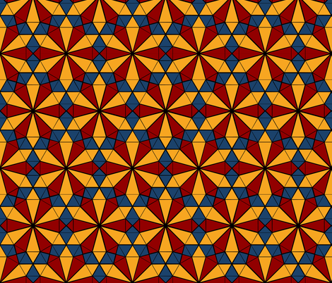 Colorful Tessellated Pointed Wheel - Yellow, Blue, Red fabric by zephyrus_books on Spoonflower - custom fabric