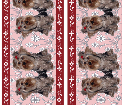 Yorkshire terrier wallpaper custom border fabric by dogdaze_ on Spoonflower - custom fabric