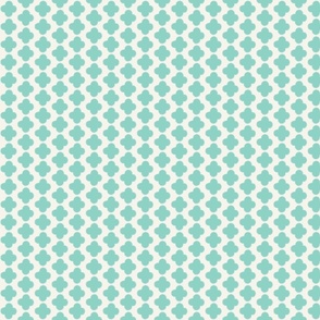 Quatrefoil Mini Print Aqua and White