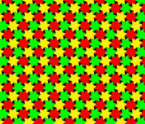 Green Yellow and Red Stars on Black Backgrond fabric by zephyrus_books on Spoonflower - custom fabric