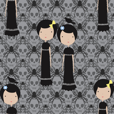 Meredith and Delany are kind of creepy fabric by vo_aka_virginiao on Spoonflower - custom fabric