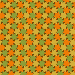 Orange Gold and Green Stars on Brown Backgrond