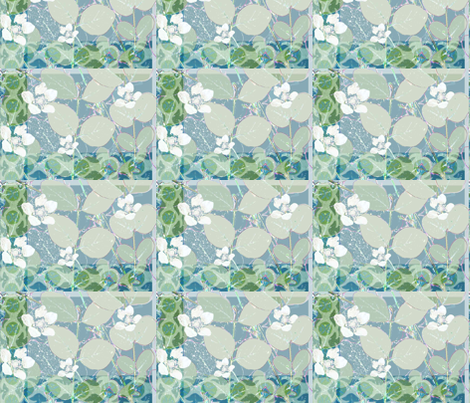 leafswithwhiteflowers fabric by feltnlove_ on Spoonflower - custom fabric