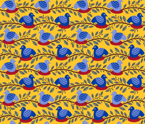 Nesting Birds fabric by yellowstudio on Spoonflower - custom fabric