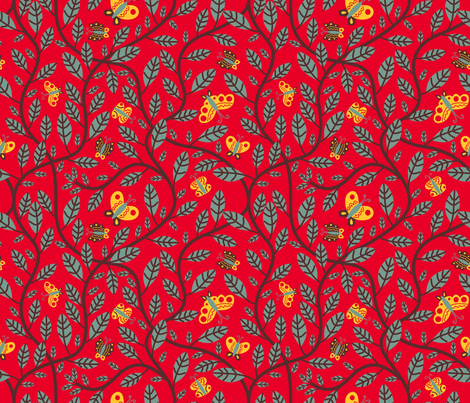 Vine & Butterflies fabric by yellowstudio on Spoonflower - custom fabric