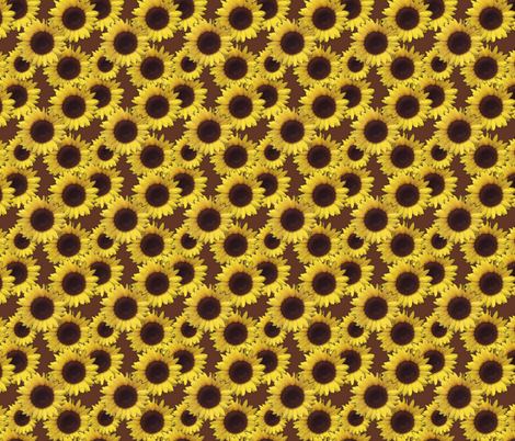 sunflowers in brown fabric by dogdaze_ on Spoonflower - custom fabric