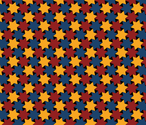 Blue Yellow Red Stars on Black Background