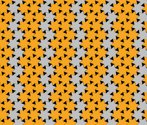 Yellow and Silver Stars on Black Background
