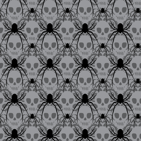 Spider Skull Damask fabric by vo_aka_virginiao on Spoonflower - custom fabric