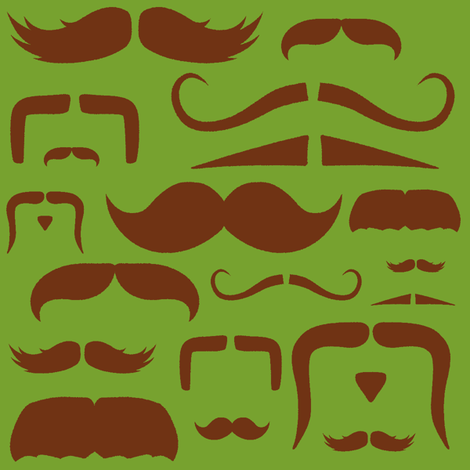 mustache love green and brown fabric by bridgethofer on Spoonflower - custom fabric
