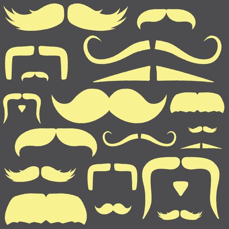 mustache love yellow and grey fabric by bridgethofer on Spoonflower - custom fabric