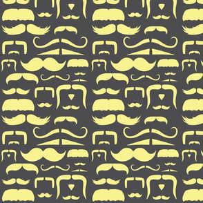 mustache love yellow and grey