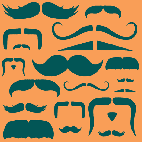 mustache love orange and teal fabric by bridgethofer on Spoonflower - custom fabric